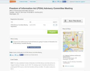 Use Eventbrite to register for the FOIA Advisory Committee Meeting